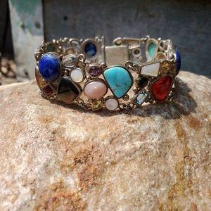 Sterling multi gemstone bracelet
